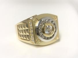 14 K Bicolor Gouden Heren Ring Schroefmotief / Zirkonia - 10,1 g