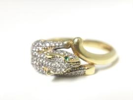 18 K Gouden Panter Ring Smaragd Groene Ogen / Geslepen Zirkonia
