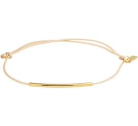 Verstelbare Armband Katoen 13 - 19 cm / 14 K Goud Bruin