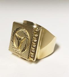 Grote 14 K Gouden Mercedes Ring - 11,95 g