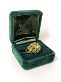 Royale 18 K Gouden Vintage Franklin Mint Fabergé Ring Diamant / Smaragd