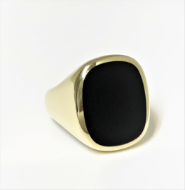 14 K Massief Gouden Heren Ring Onyx - Stomphoek / 18 g