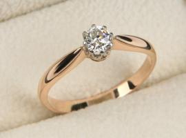 14 K Rosé Gouden Solitair Ring 0.45 crt Briljantgeslepen Diamant I / IF