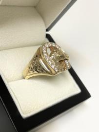 14 K Gouden Heren Ring Paard Hoefijzer Briljant Geslepen Heldere Zirkonia - 10 g