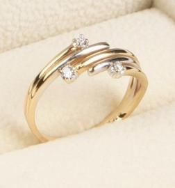 18 K Bicolor Gouden Fantasie Ring 0.065 crt Briljantgeslepen Diamant