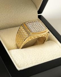 14 K Gouden Heren Ring Heldere Briljantgeslepen Zirkonia - 9,6 g