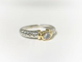 14 K Bicolor Gouden Eclat Solitair Ring 0.50 crt Diamant  TW / VVS