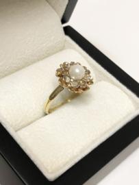 14 K Antiek Bicolor Gouden Rozet Ring Cultivé Parel