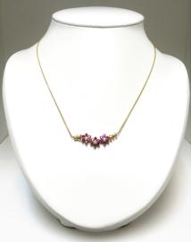 14 K Gouden Fantasie Schakel Collier Rozet Hanger Robijn / Diamant - 45 cm