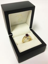 18 K Gouden Ring Sky Blue en Kers Rode Topaas 0.08 crt Diamant - Tweezijdig