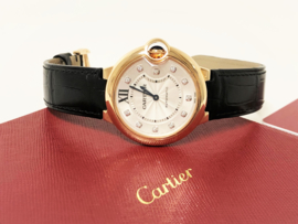 Ballon Bleu De Cartier Watch 36 MM, Rose Goud, Leer,  Diamant - Full Set / Nieuw