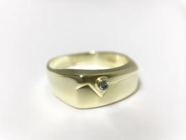 14 K Gouden Heren Ring 0.03 crt Briljantgeslepen Diamant