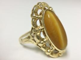 14 K Gouden Entourage Ring - Tijger Oog