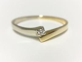 14 K Bicolor Gouden Slagring 0.03 crt Brijlantgeslepen Diamant
