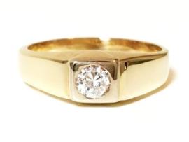 18 K Massief Gouden Heren Ring 0.50 crt Heldere Briljantgeslepen Zirkonia