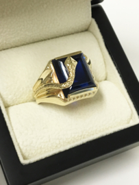 Grove 14 K Gouden Heren Ring Slang Emerald Cut Saffier - 8,65 g