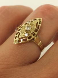 14 K Gouden Fantasie Ring Heldere Zirkonia
