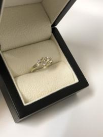 14 K Bicolor Gouden Fantasie Ring Briljantgeslepen Zirkonia