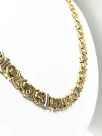 14 K Gouden Koningsketting Witgouden Dwarsliggers - 63 cm / 83,54 g / 7,5 mm