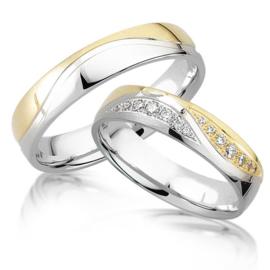 Trouwringen Bicolor Goud 14 Karaat 0.20 Diamanten - Model FL90