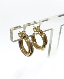 14 K Tricolor Gouden Creolen - 2 cm