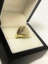 14 K Gouden Pink Ring / Zegelring Wapengravure Sportclub Enschede