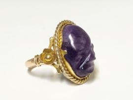 Antiek Gouden Ring Geslepen / Gesneden Amethyst - 5,05 g