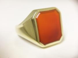 14 K Gouden Heren Zegelring (8-kant) Carneool