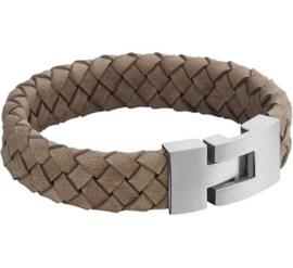 Gevlochten Leren Armband (staal) 20 cm / 15 mm