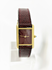 Cartier Must de Cartier Tank Midsize Quartz - Burgundy Red Lacquer / Wijn Rood