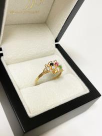 21 Karaat Gouden Fantasie Ring Briljant Geslepen Kleurstenen