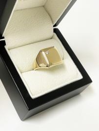 14 K Massief Gouden Heren Zegelring 0.10 Briljantgeslepen Diamant G/VVS1