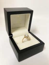 Antiek 14 K Gouden Ring Opaal / Geslepen Cubic Zirkonia
