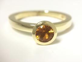 14 K Gouden Solitair Ring Briljant Geslepen Smokey Citrien