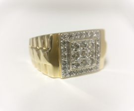 14 K Gouden Rolex Heren Ring 0.40 crt Diamant G/SI