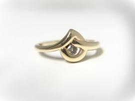 14 K Gouden Slagring 0.15 crt Briljantgeslepen Diamant H / VS2