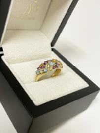 14 K Gouden Band Ring Edelstenen Amethyst Citrien Peridoot Topaas