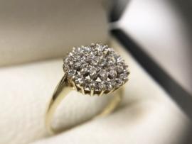 Handvervaardigd 14 K Antiek Gouden Rozet Ring Briljantgeslepen Diamant