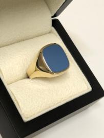 14 K Gouden Heren Zegel Ring Blauwlagen Steen / Stomphoek - 6,6 g