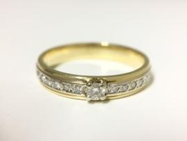 14 K Bicolor Gouden Solitair Rijring 0.20 crt Diamant H/VS1