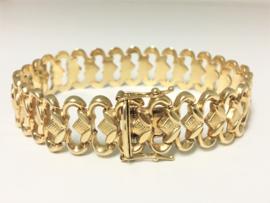 14 K Gouden Fantasie Schakel Armband - 19,5 cm / 19,35 g