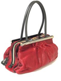 Christian Louboutin Dames Tas Red & Black - Kathena Pony Hair Bag