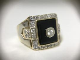 14 K Bicolor Gouden Heren Ring Onyx / Briljantgeslepen Zirkonia - 14,1 g