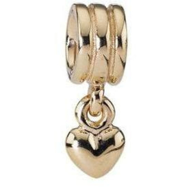 PANDORA 750198 'Dangle Heart' - Gouden Hang Bedel Hart