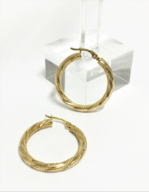 14 K Gouden Creolen (bewerkt) - 2,65 cm