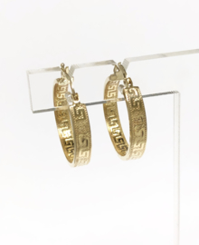 14 K Gouden Creolen Versace Meander Print / Motief - 2 cm