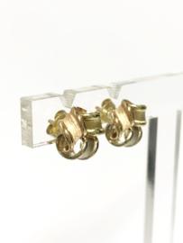 14 K Tricolor Gesatineerd Gouden Oorstekers Krullen