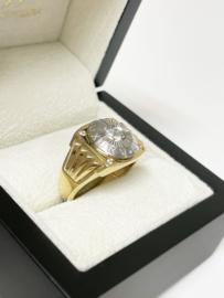 14 K Bicolor Gouden Heren Ring Briljant Geslepen Heldere Zirkonia - 7,3 g