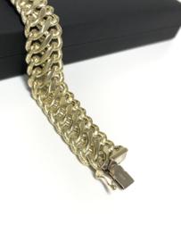 Vintage Brede 14 K Gouden Schakel Armband - 20,5 cm / 30,1 g / 1,65 cm
