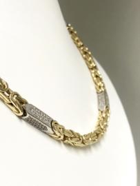 14 K Bicolor Gouden Koningsketting Briljantgeslepen Zirkonia - 70 cm / 57,1 g